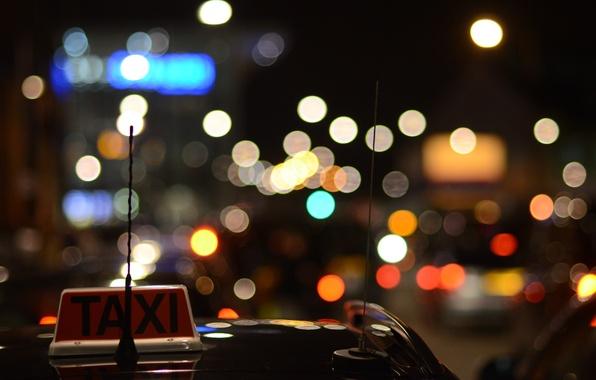 Picture auto, machine, night, lights, darkness, the inscription, plate, lights, antenna, the evening, taxi, car, red, …