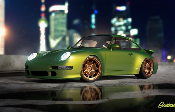 Picture Porsche, Green, Turbo, Modern, 993, by Gurnade