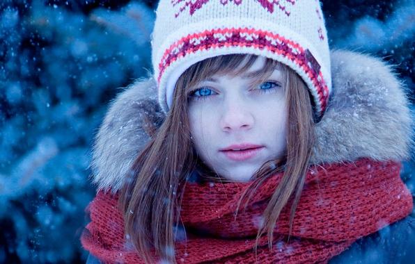 Picture winter, snow, hat, portrait, scarf, girl