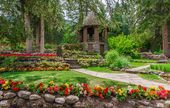 Picture greens, grass, trees, flowers, Park, stones, lawn, garden, Canada, steps, gazebo, the bushes, Banff, begonias, ...