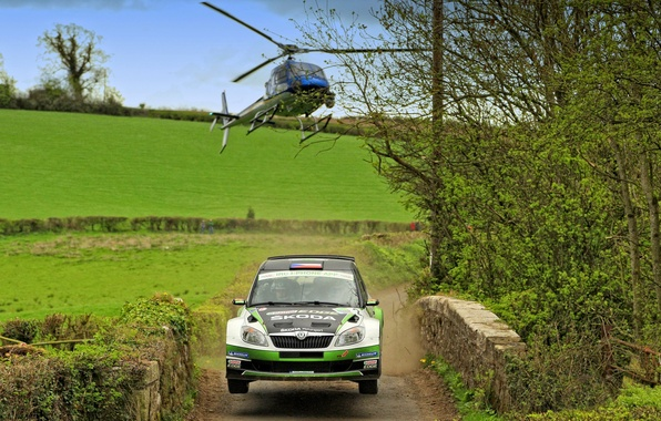 Picture Auto, Machine, Helicopter, WRC, Rally, The front, Skoda, Fabia, Competition, Fabia