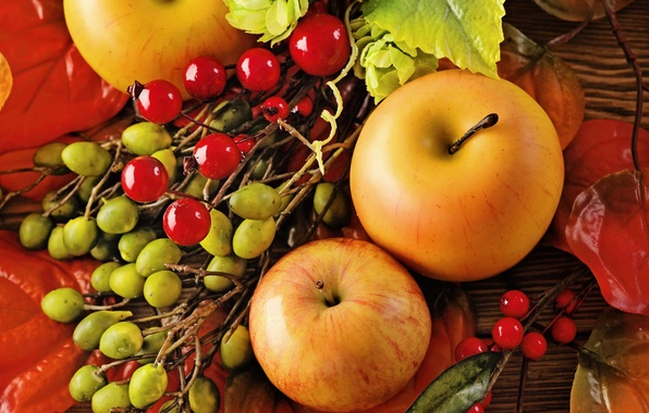 Picture autumn, leaves, apples, still life, autumn, leaves, fruit, still life, berries, apples, harvest