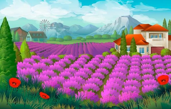 Picture field, landscape, mountains, house, Maki, lavender
