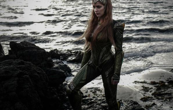 Picture cinema, wallpaper, rock, beach, sea, crown, movie, Amber Heard, hero, queen, film, suit, princess, DC …