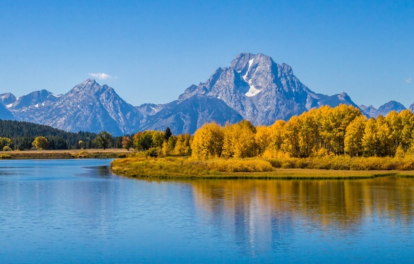 Picture autumn, forest, the sky, trees, mountains, lake, river, Wyoming, USA, grand teton national park