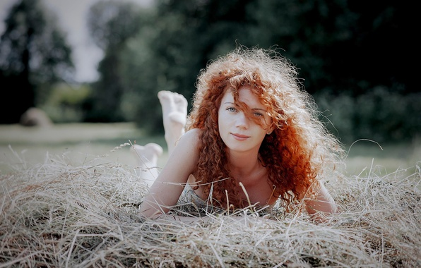 Picture summer, the sun, smile, portrait, curls, the beauty, redhead