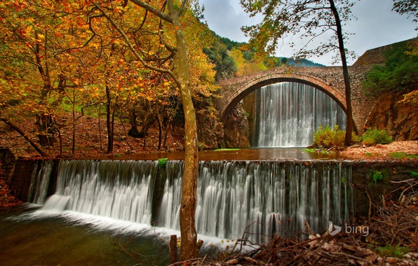 Picture autumn, the sky, trees, bridge, river, waterfall, Greece, Trikala