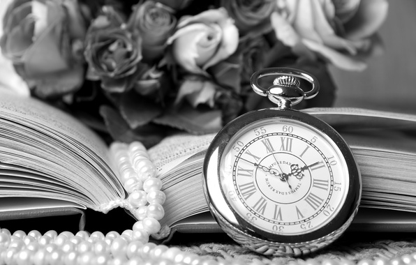 Picture retro, watch, roses, necklace, book, vintage