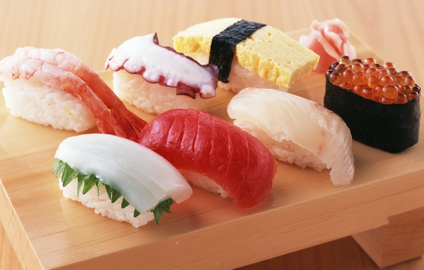 Picture food, octopus, figure, red, caviar, sushi, rolls, shrimp, seafood, Japanese cuisine, ginger