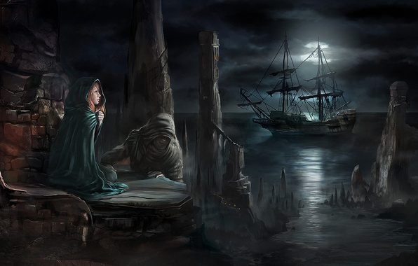 Picture girl, clouds, light, night, the moon, shore, ship, hood, red, cloak, the full moon