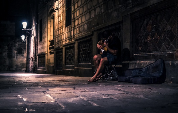 Picture night, music, street, people, guitar