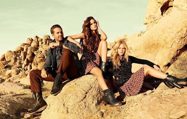 Picture grass, nature, stones, girls, clothing, brunette, blonde, actor, male, model, Paul Walker, Paul Walker, Erin …