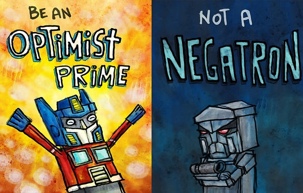 Picture figure, humor, transformers, Megatron, Optimus Prime, optimist, a pessimist