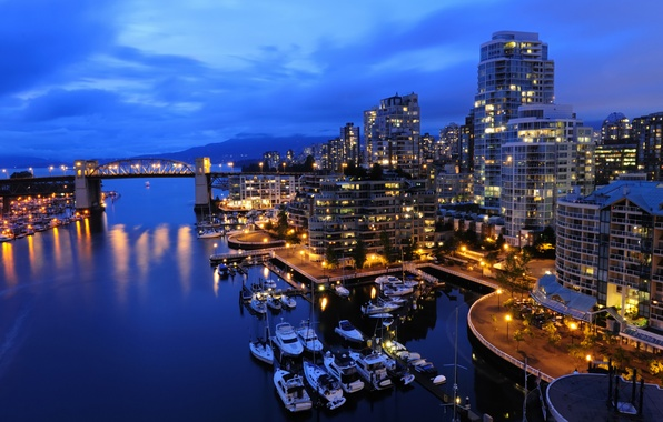 Picture sea, night, life, lights, city, the ocean, view, home, ships, boats, North, Canada, boats, vancouver, …
