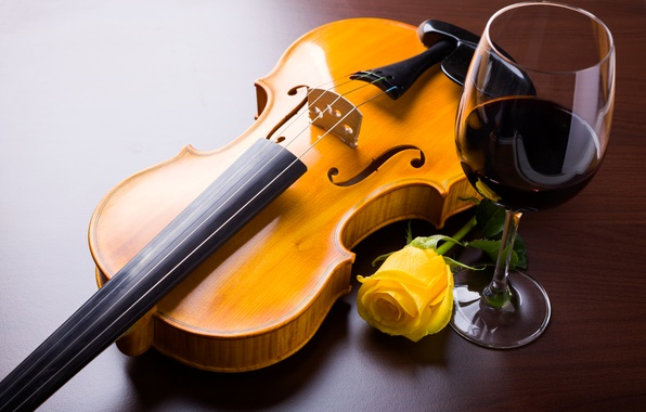 Picture flower, wine, violin, glass, rose, yellow