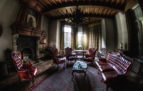 Picture room, sofa, Windows, chairs, interior, chairs, fireplace, mansion, cottage