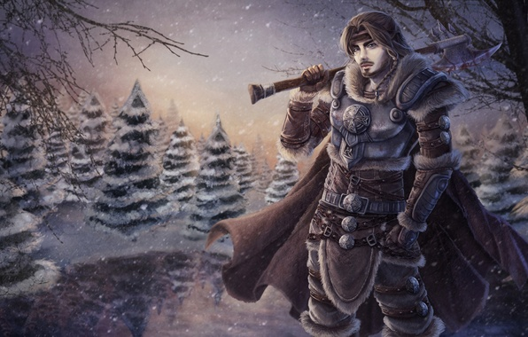 Picture snow, trees, warrior, art, armor, guy, axe, cloak