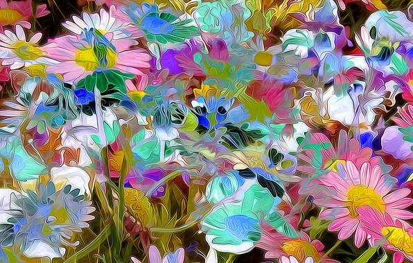 Picture rendering, figure, vector, petals, garden, meadow