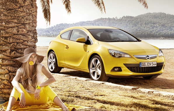 Picture flower, summer, girl, yellow, Palma, coupe, positive, hat, Astra, Yellow, opel, Opel, astra, gtc