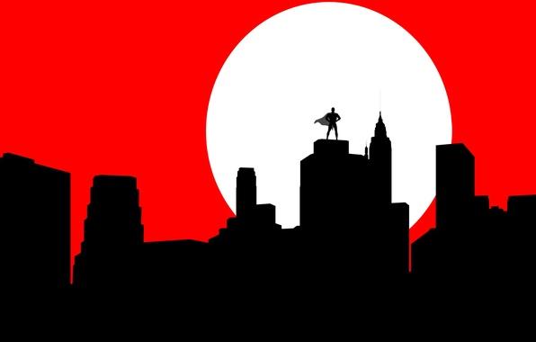 Picture the city, the moon, Batman, silhouette, mask, cloak, Batman