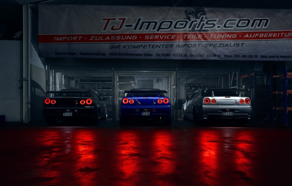 Picture GTR, Light, Nissan, Blue, Black, Skyline, R34, Silver, Rear
