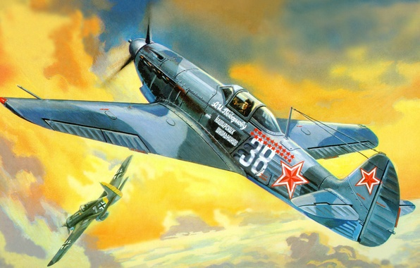 Picture figure, THE SOVIET AIR FORCE, As-9T, Yakovlev, Soviet single-engine fighter, Vybornov