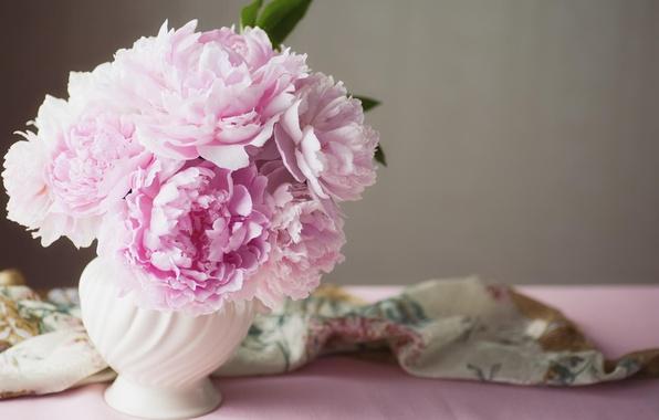 Picture flowers, vase, pink, peonies