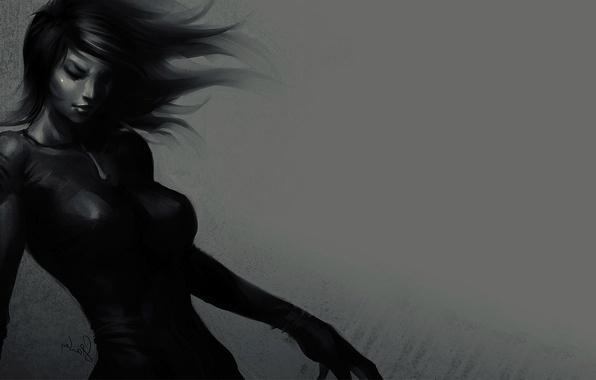 Picture Girl, art, black dress