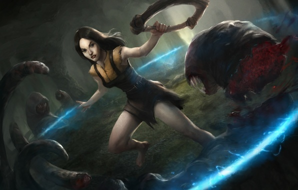 Picture forest, girl, weapons, round, art, monsters, worms, Path of Exile