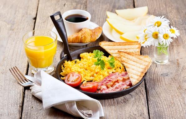 Picture flowers, coffee, chamomile, Breakfast, juice, bread, bacon, melon