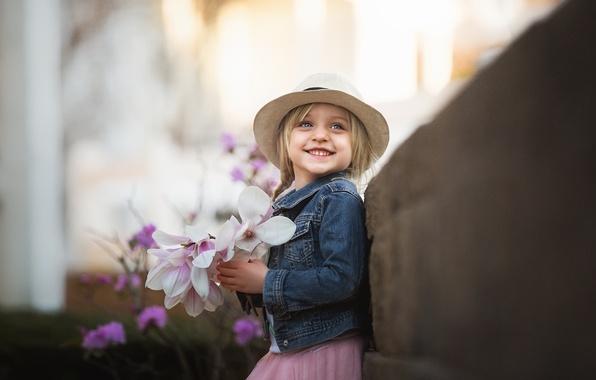 Photo wallpaper girl, smile, flowers