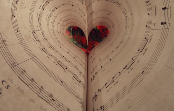 Picture notes, heart, music