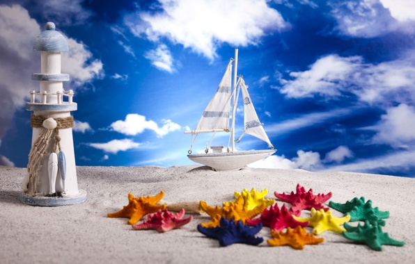 Picture sand, the sky, clouds, lighthouse, boat, layout, marine zohdy