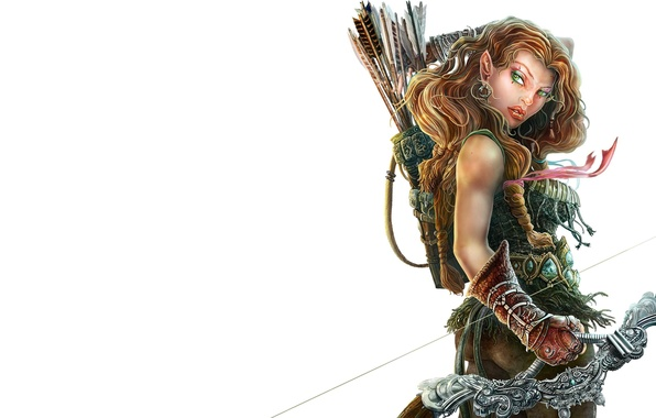 Picture look, weapons, fiction, bow, elf, arrows, warrior, quiver, shooter, Loranthus, Dragonlance, Laurana, Laurent
