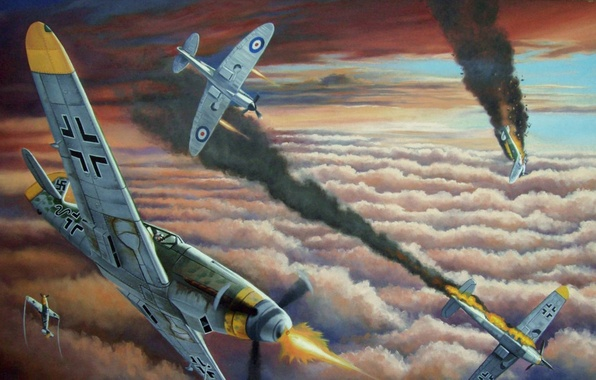 Picture clouds, smoke, figure, battle, art, Spitfire, bf-109, lined, Supermarine, Messer