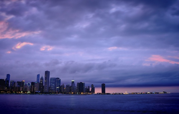 Picture lights, skyscrapers, the evening, America, Chicago, Chicago, USA