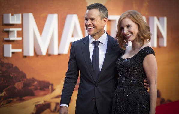 Photo wallpaper actors, Matt Damon, film, presentation, Matt Damon, Jessica Chastain, Jessica Chastain, Martian, The Martian
