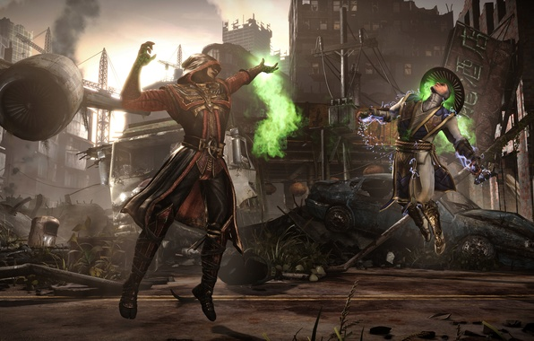 Picture magic, battle, arena, Raiden, Ermac, Mortal Kombat X