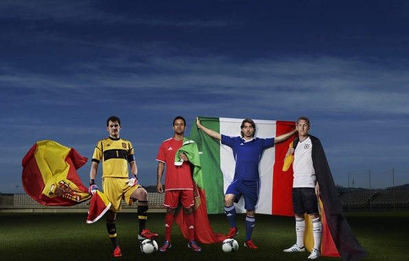 Picture football, sport, Germany, Italy, Adidas, sport, flags, Portugal, Spain, Italy, Germany, Adidas, championship, players, football, …