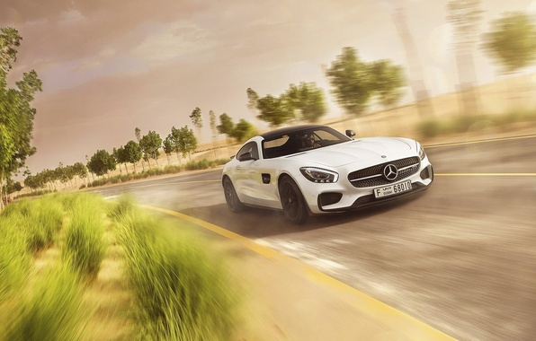 Picture Mercedes-Benz, Speed, AMG, White, Road, Supercar, GT