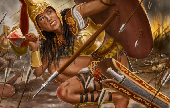 Picture girl, fire, war, armor, spear, shield, painting, arrows, Amazon, Thalestris