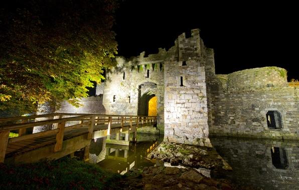 Picture night, bridge, castle, UK, fortress, ditch, stones.trees, North Wales, Beaumaris Castle
