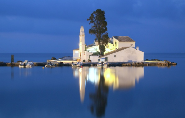 Picture light, reflection, tree, Greece, mirror, The Ionian sea, motor boat, Corfu, the Isle of mouse, …