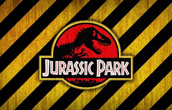 Picture red, logo, black, yellow, jurassic park, bones