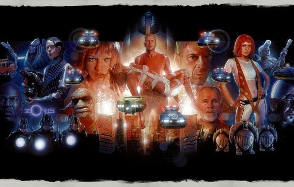 Picture Bruce Willis, art, Milla Jovovich, Gary Oldman, The Fifth Element, Leeloo, Jean-Baptiste Emanuel Debt Boug, …