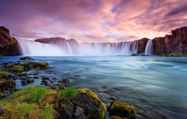 Picture clouds, landscape, nature, river, stones, rocks, shore, waterfall, stream, Iceland, Iceland
