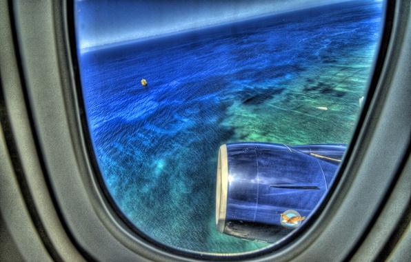 Picture sea, the plane, The window