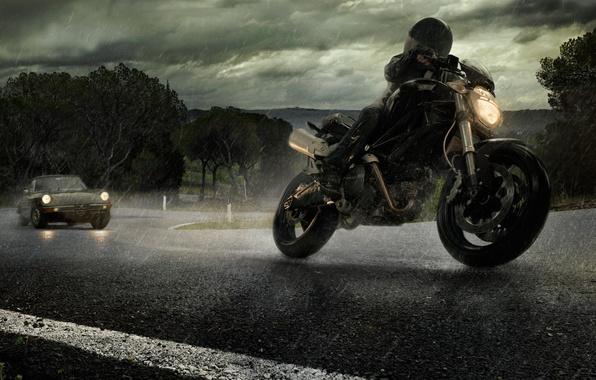 Picture road, rain, motorcycle, car, alfa romeo, ducati