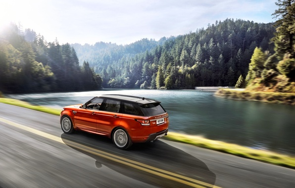 Picture Auto, Road, Lake, Forest, Orange, Land Rover, Range Rover, Sport, The view from the side