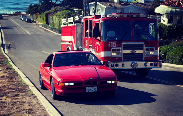 Picture Road, Red, BMW, BMW, Red, E31, 1997, 850ci, Fire truck